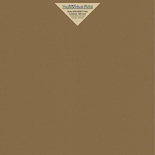 (25 Brown Bag Colored Cardstock Paper Sheets - 12 X 12 inches Scrapbook Album|Cover Size - 80 lb/Pound Cover|Card Weight 216 GSM - Natural Kraft Fiber with Darker Specks - Slightly Rough Finish)