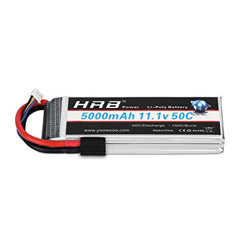 HRB 11.1V 5000mAh 3S 50C-100C LiPo Battery with Traxxas TRX Plug for RC DJI F450 Quadcopter RC Helicopter Airplane Hobby Drone and FPV (6.10 x 1.89 x 0.91 Inch) (11.1v 5000mah TRX) ()