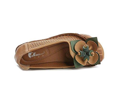 Nuevas Madre Planas Mujeres Verano Zapatillas Brown Cómodas de Flores Ocio Sandalias XiMu Moda de 56AnSnaf