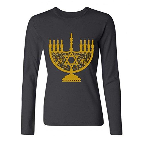 LSLEEVE Women's The Festival Hanukkah Long Sleeve T-shirt Black ()