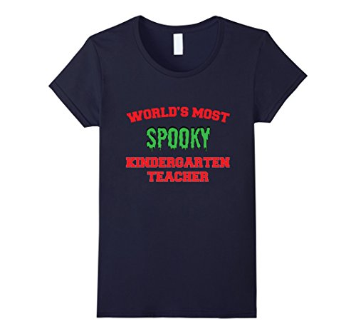 [Womens Spooky Kindergarten Teacher Funny Halloween Costume T-Shirt XL Navy] (Halloween Costume Lesson Plans)