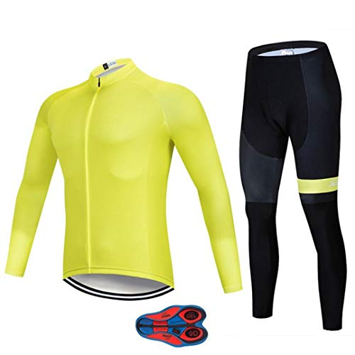 Cycling Jersey Set Winter Thermal Fleece Long Sleeve Warm Yellow Cycling Jersey Suits Clothing - Thermal Novara