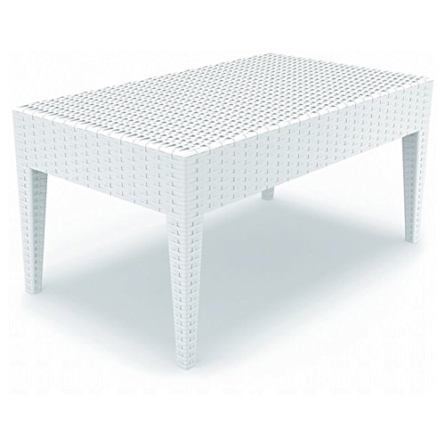 Compamia ISP855 BR Miami Rectangle Resin Coffee Table White by Compamia