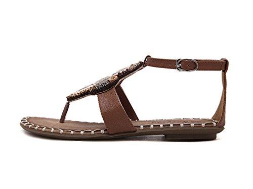 Las Mujeres Sandalias Del Dedo Del Pie Del Clip Estilo Bohemio Tacón Plano Zapatos De La Playa Sandalias Marrón claro