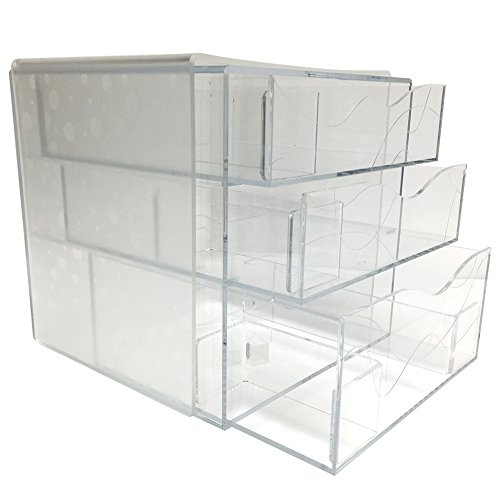 Clear Makeup Box & Cosmetics Acrylic Organizer With Removable Dividers (Circles, Large) ()