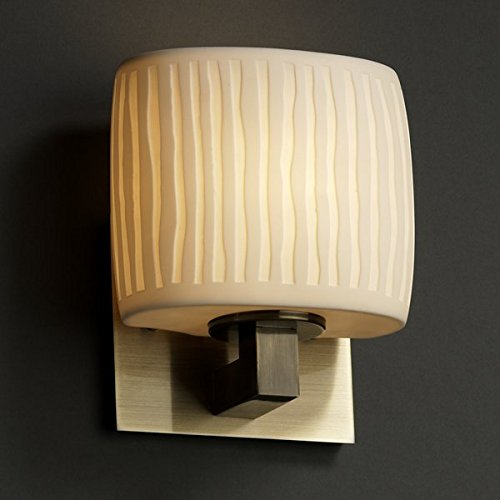 Sconce Brass Porcelain (Justice Design Group Limoges 1-Light Wall Sconce - Antique Brass Finish with Waterfall Translucent Porcelain Shade)