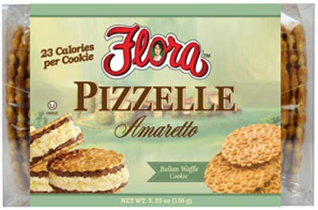 Pizzelle Cookies by Flora Foods (Amaretto) - Italian Waffle Cookie - Sweet Snack - Great snack ONLY 23 calories ()