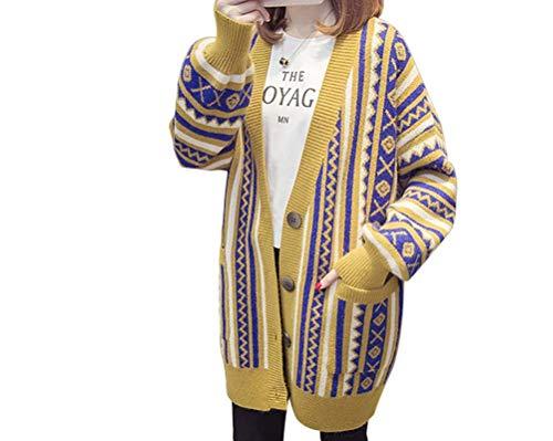 レディース カーディガン 民族 長袖 ロング丈 カラー 図形柄 厚手 コート ゆったり Vネット ポケット付き カジュアル カーディガン