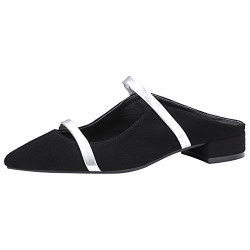 Comfity Mules For Women, Pointed Toe Slippers Two Narrow Single Band Slides Backless Dress Flats Black