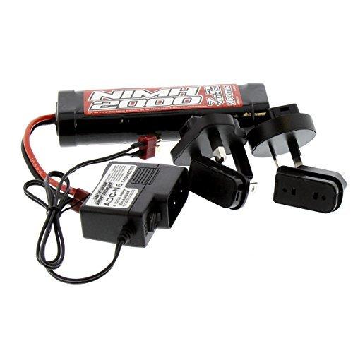 Arrma Granite Mega 1/10: NiMH Battery & Charger w Adapter, 7.2v 6-Cell 2000mAh -  RC47855