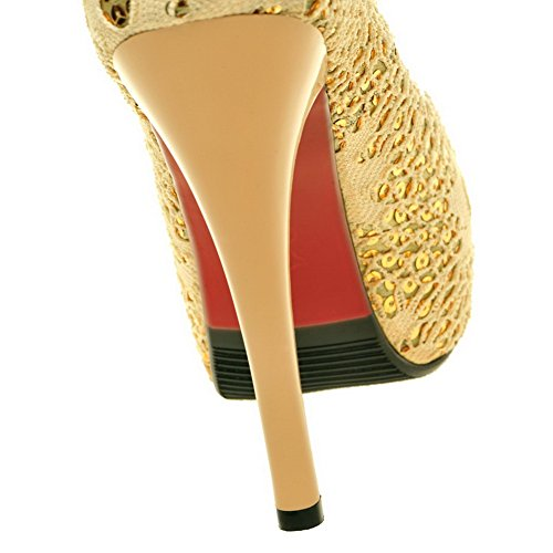VogueZone009 Womens Open Peep Toe High Heel Stiletto Platform PU Soft Material Solid Pumps Gold vOoRWFFG3