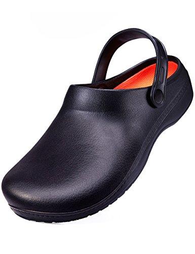 SensFoot Slip Resistant Clogs For Men Black Non Slip Chef Work Shoes For Restaurant (11#11D(M) US Men)