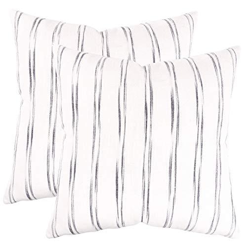 (KAF Home Waterbrush Stripe Filled Pillow 20 x 20-inch Cotton 100-Percent Feather Insert, 850 Gram Weight, Gray)