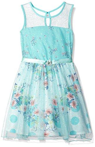 As U Wish Big Girls' Glitter Mesh Dress, Ivory/Aqua, 7