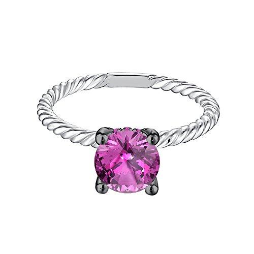 Silvernshine Jewels 6mm Round Cut Pink Saphire Sim Diamond 14K White Gold Plated Besel Set Stud Earing -  9