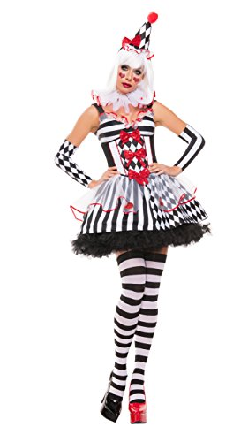 Starline Women's Cinched Clown 5 Piece Sexy Costume Dress Set, White/Black, X-Large