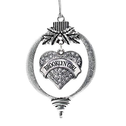 (Inspired Silver - Brooklyn Girl Charm Ornament - Silver Pave Heart Charm Holiday Ornaments with Cubic Zirconia Jewelry)
