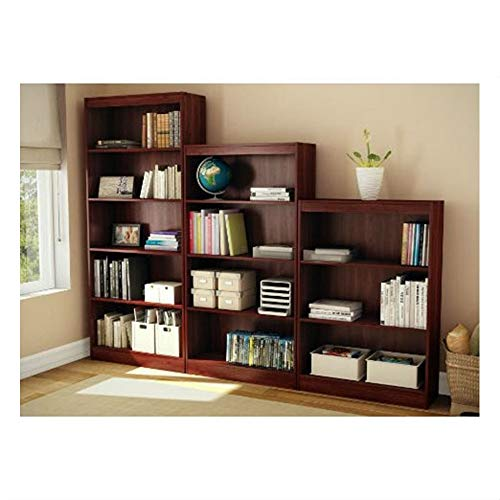 MyEasyShopping Contemporary 5-Shelf Bookcase Bookshelf in Royal Cherry Wood Finish Storage Adjustable Display Furniture