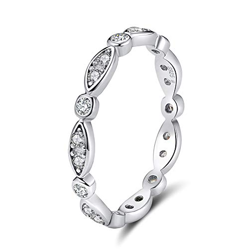 UPRIMOR Milgrain Marquise & Round Cubic Zirconia Synthetic Diamond Eternity Ring Stacking Infinity Wedding Band Sterling Silver, Size 7 ()