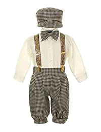 Vintage Dress Suit-Bowtie,Suspenders,Knickers Outfit Set for Boys-Toddler, Houndstooth-Beige/Ivory-3T