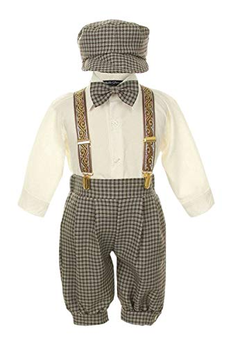 Vintage Dress Suit-Bowtie,Suspenders,Knickers Outfit Set for Boys-Toddler, Houndstooth-Beige/Ivory-3T -