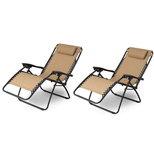 2pcs Plum Blossom Lock Portable Folding Chairs with Saucer Recliners Khaki