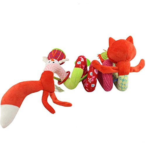 (Roysberry Dolls, Soft Stroller Car Seat Activity Toy with Rattle Teether Mirror Fox Plush Spiral, Great Gift for Kids)