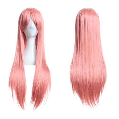 Pink Ladies Costume Hairstyles (Inkach Women Long Straight Wig Cosplay Party Costume Hair Full Wig 80cm (Pink))