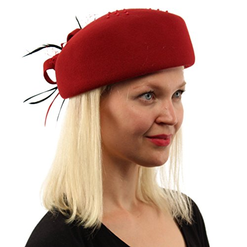 SK Hat shop Fancy Feathers Floral Ribbon Bead Fishnet Pillbox Wool Cloche Bucket Hat Red