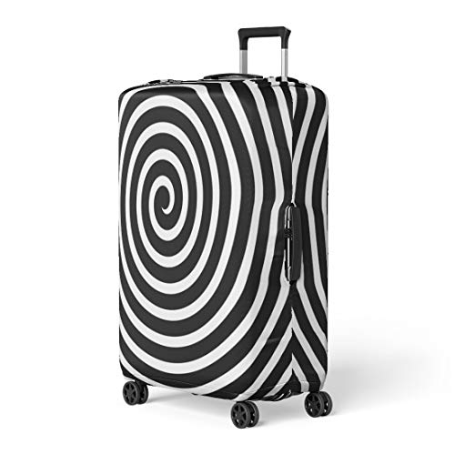 (Pinbeam Luggage Cover Hypnotic Volute Spiral Concentric Lines Circular Rotating Vortex Travel Suitcase Cover Protector Baggage Case Fits 18-22 inches )