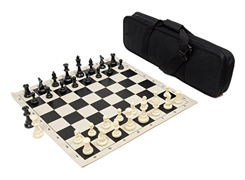 Heavy Tournament Triple Weighted Chess Set Combo - Black - Chess Set Bag