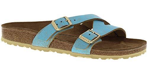 Birkenstock Women's Yao Sandal Washed Metallic Aqua Leather Size 36 N EU from Birkenstock
