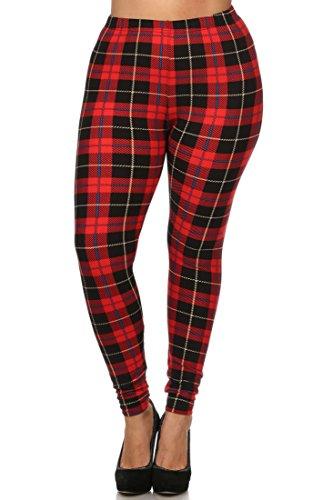 NioBe Women's Plus Size Fashion Design Leggings (One Size, Red Plaid)