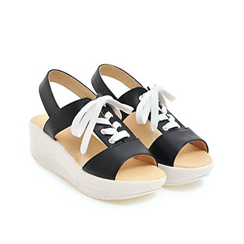 Carolbar Femmes Mode Confort Décontracté Peep Toe Lace Up Sandales Plate-forme Noir