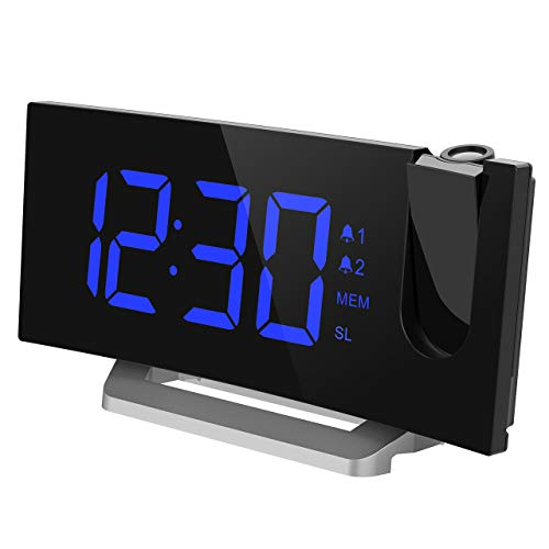 Mpow [Upgraded] Projection Alarm Clock, 5'' LED Curved-Screen Digital Alarm Clock, 4 Dimmer, Dual Alarms, 15 FM Radio, USB Charging Port, Sleep Timer, Snooze Function, Bedroom, Ceiling, Wall ()