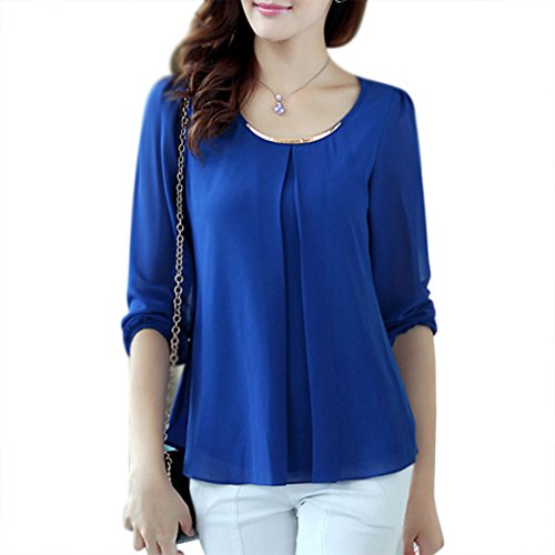 LOBZON - Camisas - Básico - Cuello redondo - para mujer Azul