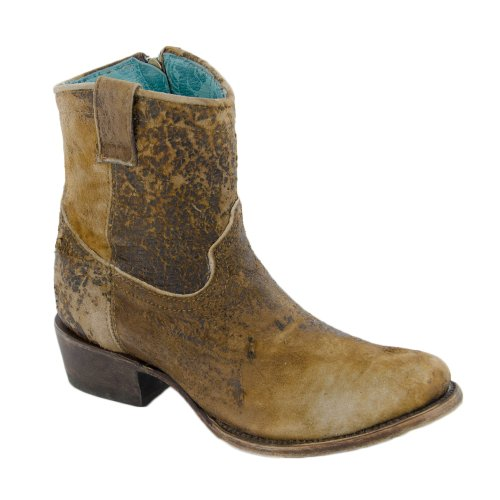 Corral Laars Company Womens Chocolate Tan Lamb Abstract Shortie Cowgirl Boots 9 B (m) Ons Bruin
