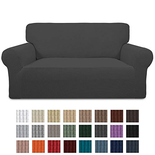 Easy-Going Stretch Loveseat Slipcover 1-Piece Couch Sofa Cover Furniture Protector Soft with Elastic Bottom for Kids. Spandex Jacquard Fabric Small Checks(loveseat,Dark Gray)