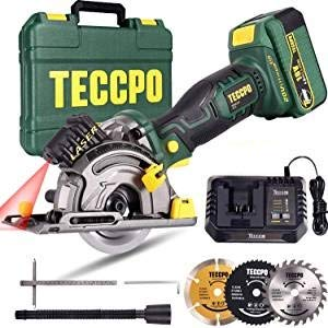 Circular Saw, TECCPO 18V Cordless Multifunction Mini Circular Saw, 4.0Ah Rechargeable Battery, 1H Fast Charger, Laser Guiding, 3 Blades 89mm, 2800RPM -TDMS23P
