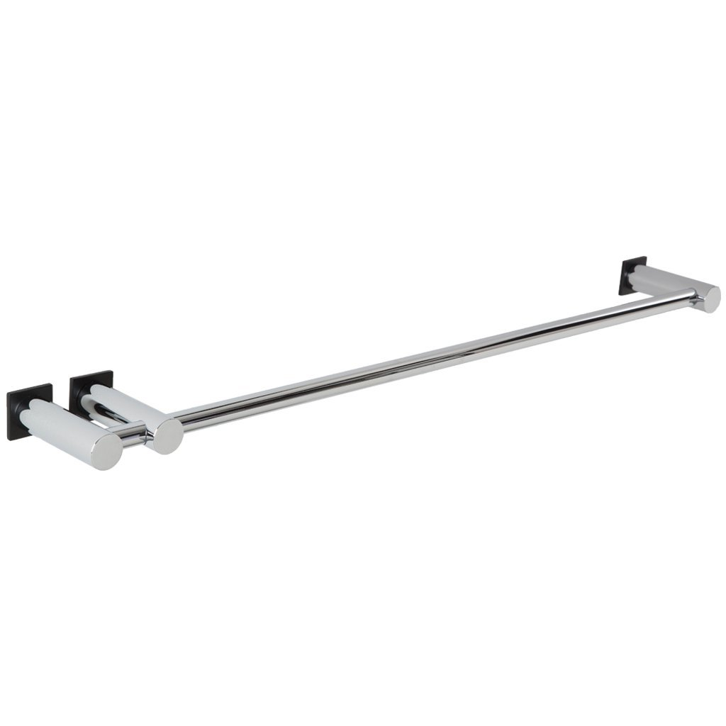 Borhn B52893 24'' Ortona Double Post Towel Bar, Chrome/Black