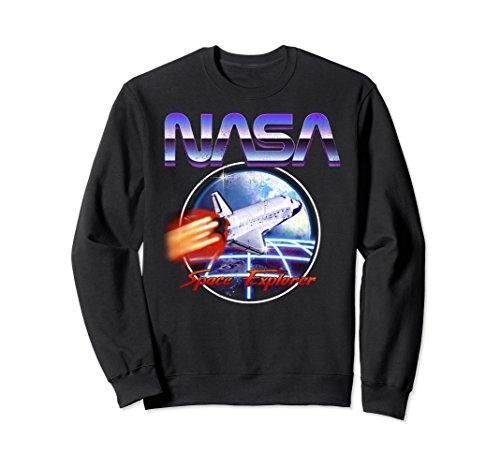 Unisex NASA Space Explorer 80s Neon Chrome Retro Vintage Sweatshirt Medium Black - Vintage Explorer