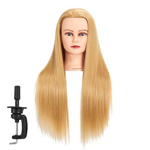 Traininghead 26-28 Synthetic Fiber Hair Female Mannequin Head Hairdresser Training Practice Head Manikin Cosmetology Doll Head With Clamp (1812W2720)