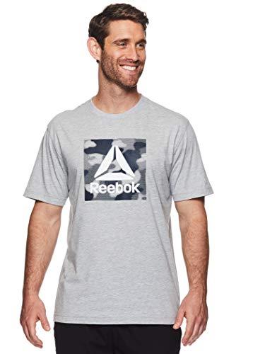 Reebok Men's Graphic Workout Tee - Short Sleeve Gym & Training Activewear T Shirt - Camo Box Grey Heather, Small