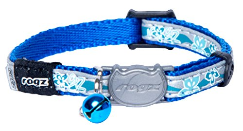 Rogz Reflective Cat Collar with Breakaway Clip and Removable Bell, fully adjustable to fit most breeds, Blue Floral Design