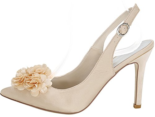 Job Wedding Pointed 20h Work Nightclub Ol Slingback Eu Pu 37 0608 Heeled Toe Comfort Champagne Sandals Ladies Bride d0XqqBYz
