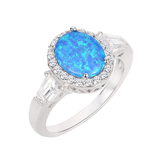 CloseoutWarehouse Oval Halo Blue Simulated Opal Ring Sterling Silver Size 7 ()