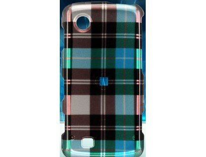 Design Plastic Phone Protector Case Cover Blue Checkers For LG Chocolate Touch VX8575