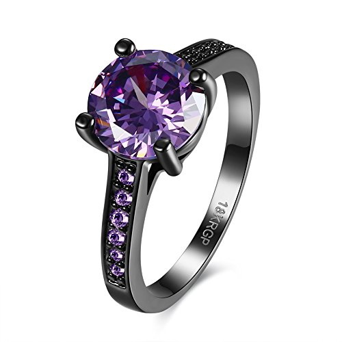 Ring Dark Purple - Herinos Women Black Gold Plated Copper Round Cubic Zirconia Engagement Promise Wedding Ring Size 8 Purple
