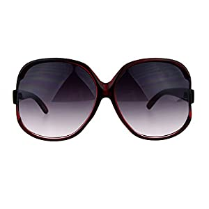 Womens Extra Oversized Round Designer Fashion Exposed Lens Butterfly Sunglasses Burgundy