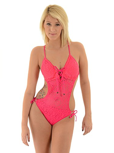 In Mocean Juniors Cut Out Swimsuit Pink Monokini Criss Cross Back One Piece Sizes: Small